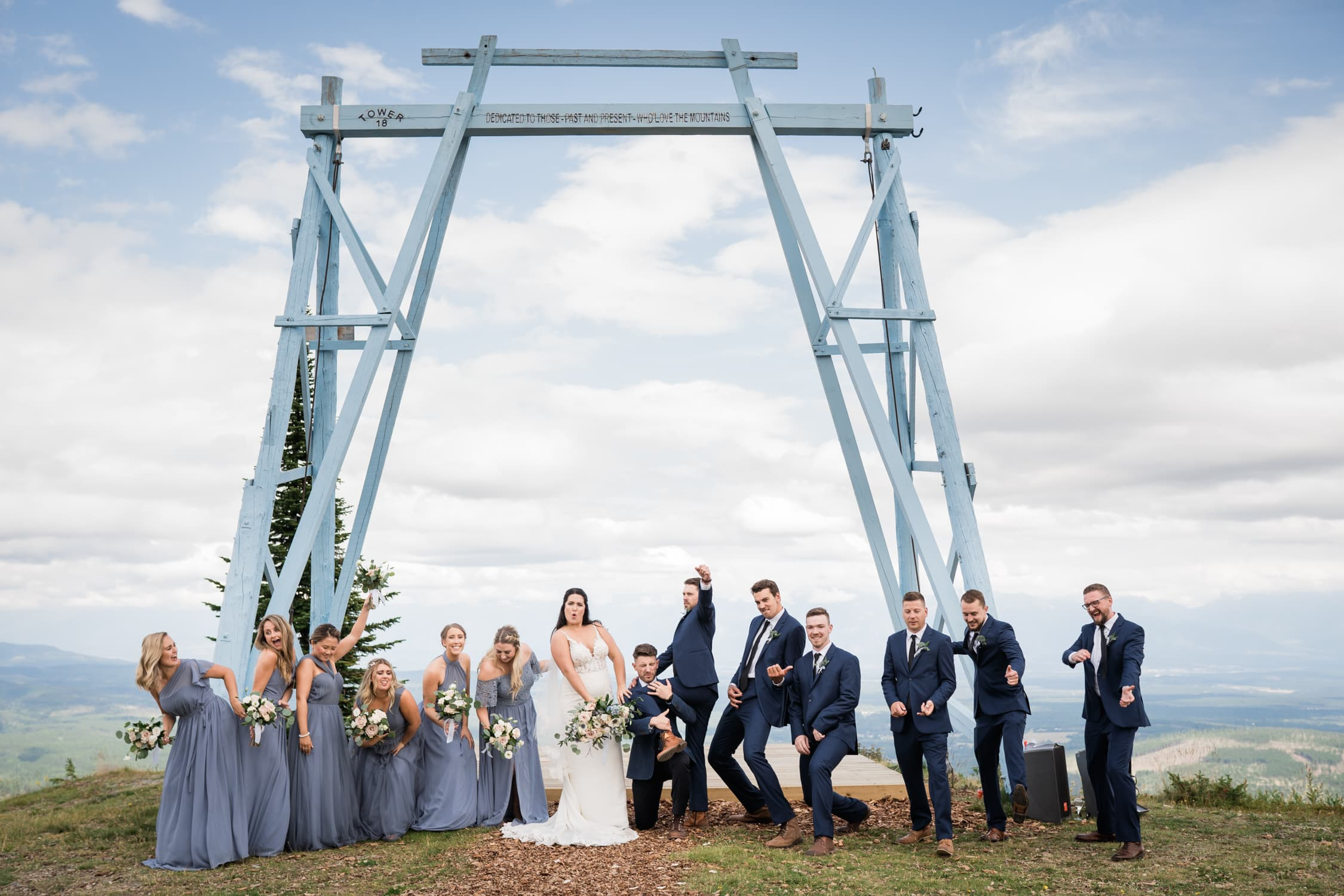 Bridal party celebrates after the ceremony at Kimberley Alpine Resort