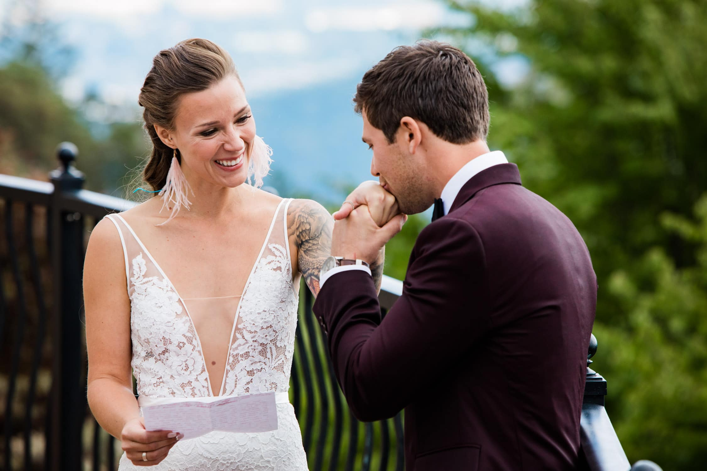 A wedding couple during their first look at Villa Eyrie Victoria, BC