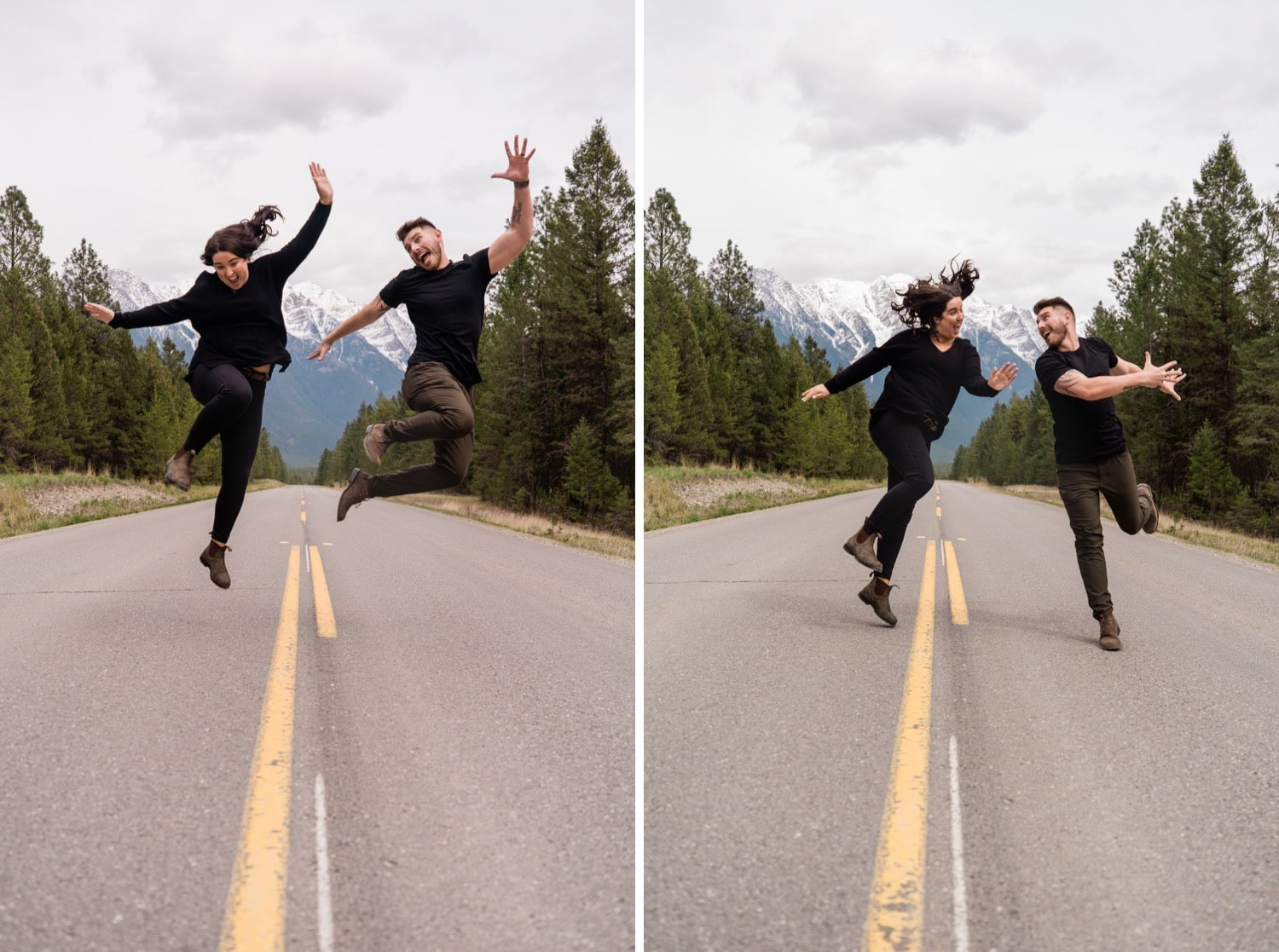 Playful couple jumps for the camera, laughing together during their engagement photography session.
