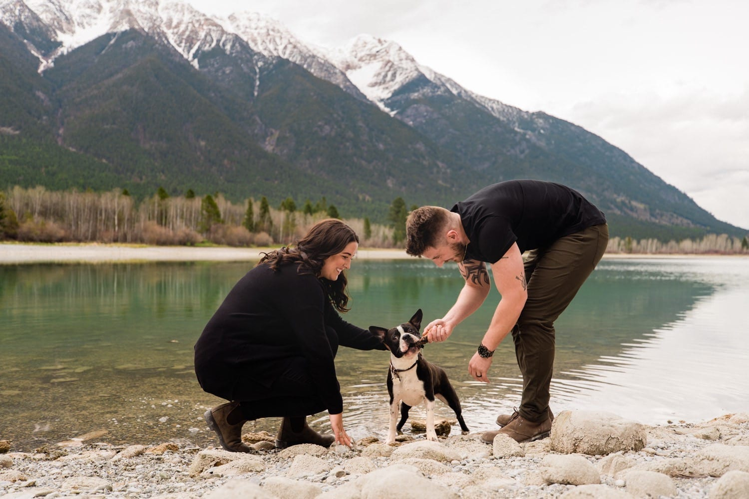 Adventurous mountain engagement session with a couple and their dog in Kimberley, British Columbia.