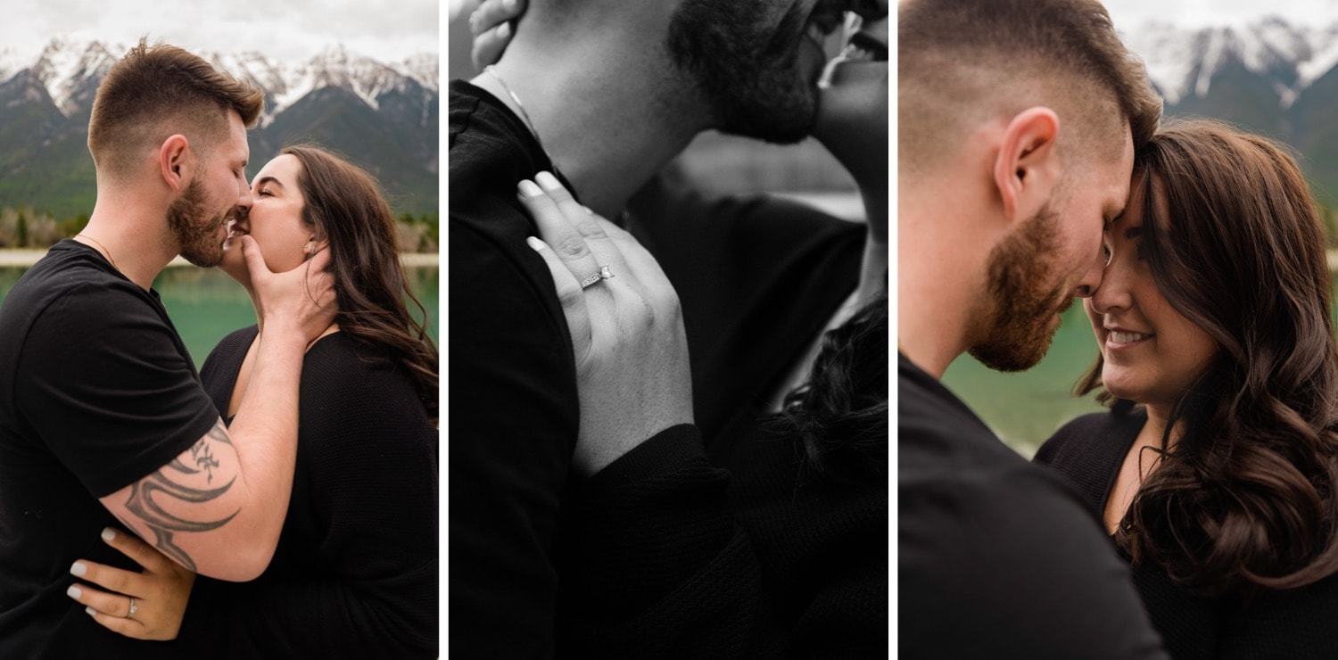 Love between a man and a woman in the mountains of the East Kootenays with photographer Tara Hill Studios