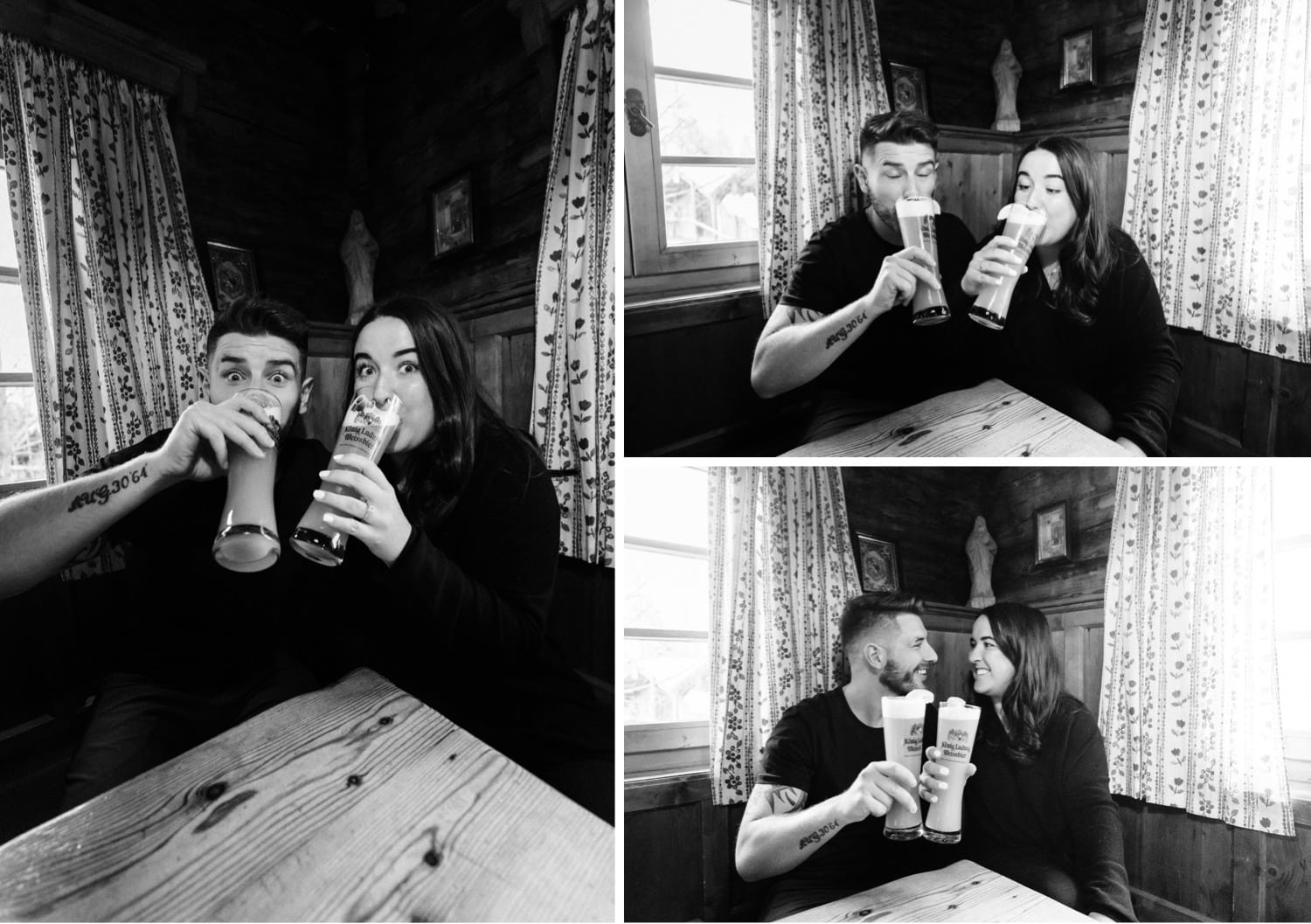 Couple drinking beers at The Old Baurhaus in Kimberley, BC after their adventurous mountain engagement session with their photographer Tara Hill Studios