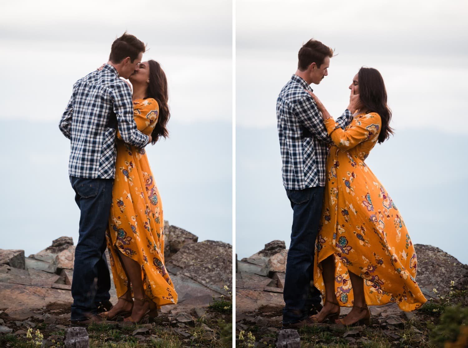 A man wipes the tears off of his fiancé's cheek moments after he asked her to marry him on top of a mountain