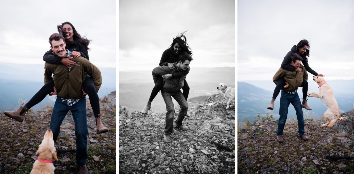 A man gives his fiancé a wild piggy back ride as their dog jumps around with them enthusiastically.