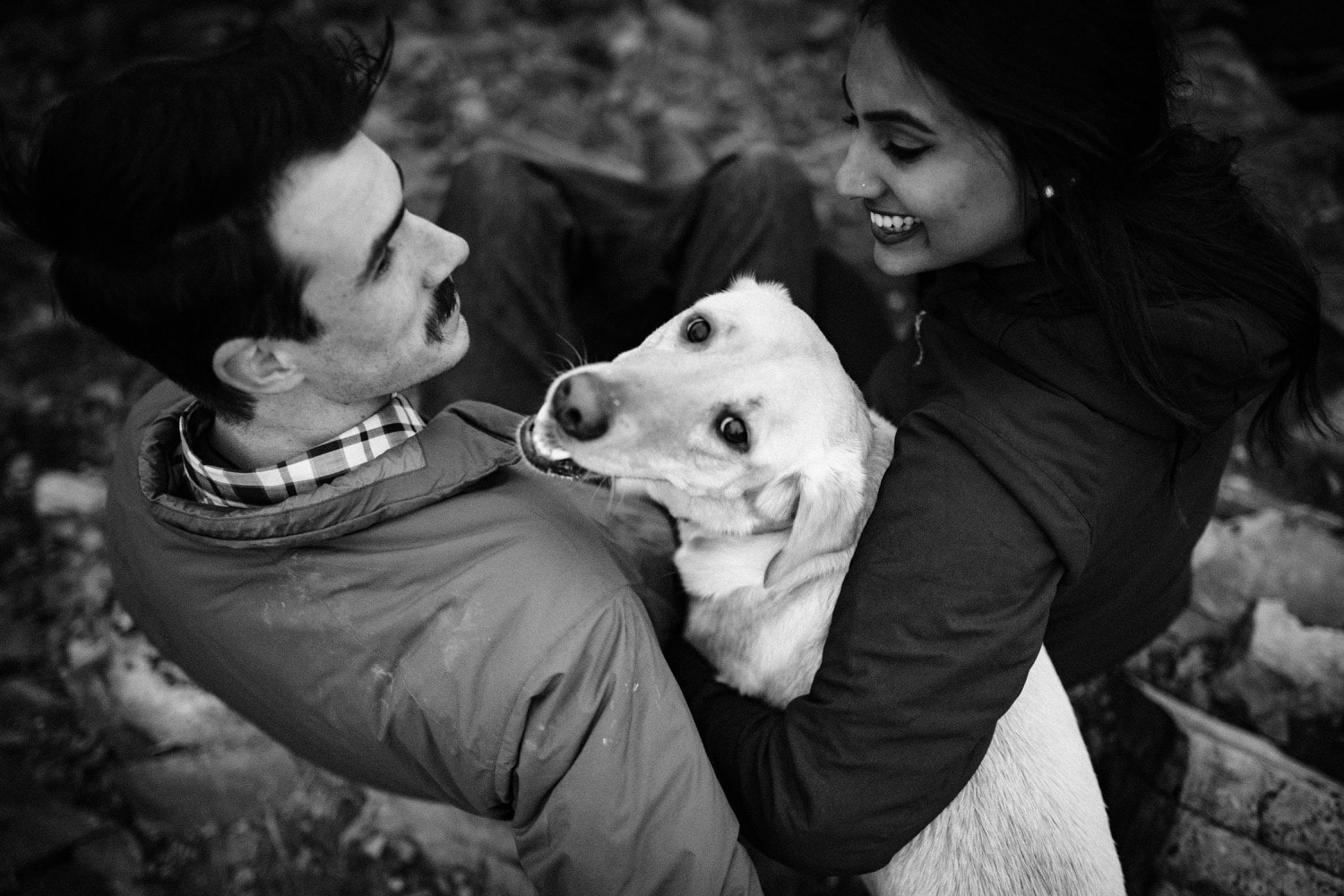 A couple cuddles their dog who is looking up at the camera