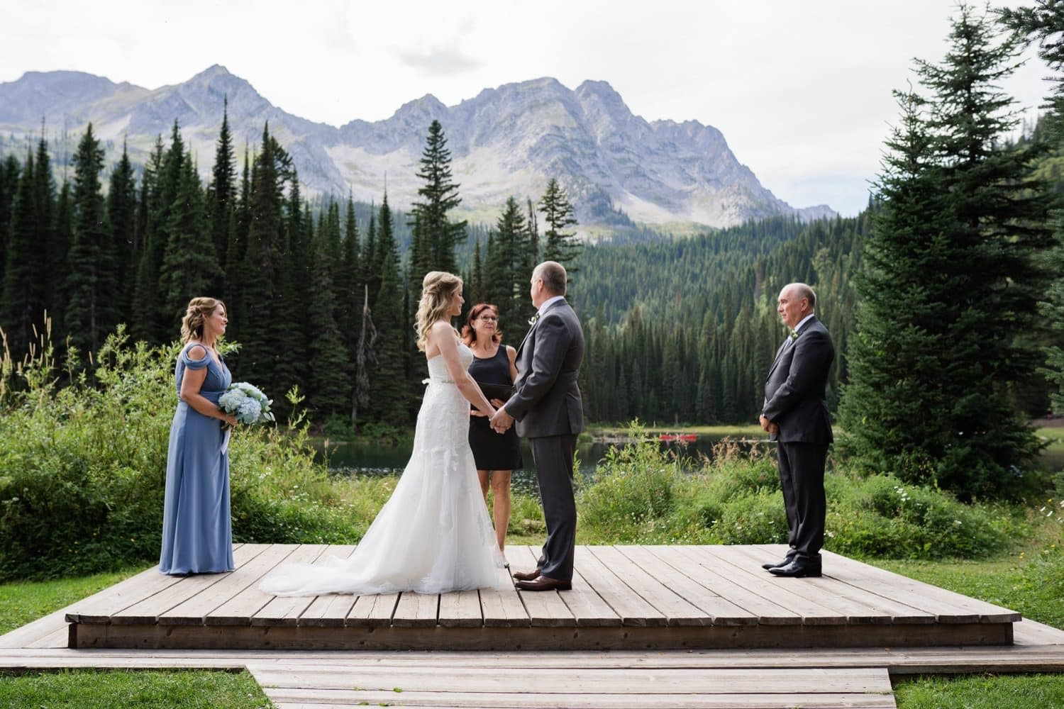 Mountain Elopement ceremony at Island Lake Lodge in Fernie, British Columbia