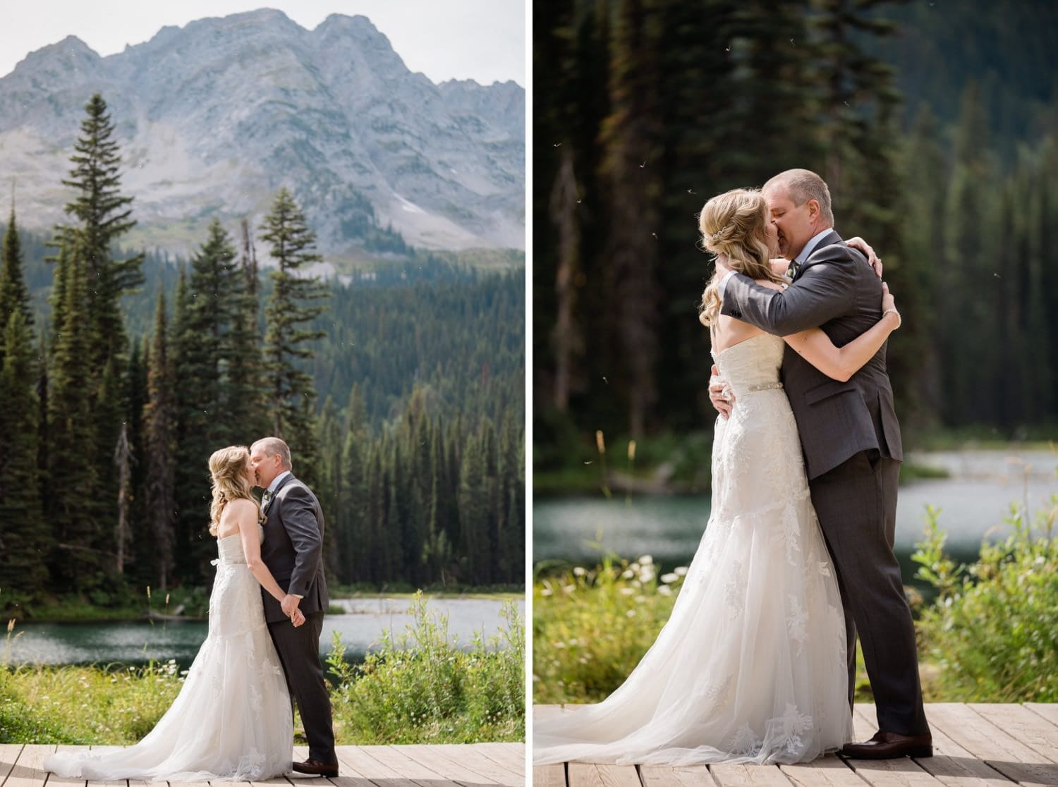 Bride and groom share their first kiss as husband and wife at Island Lake Lodge in Fernie, BC