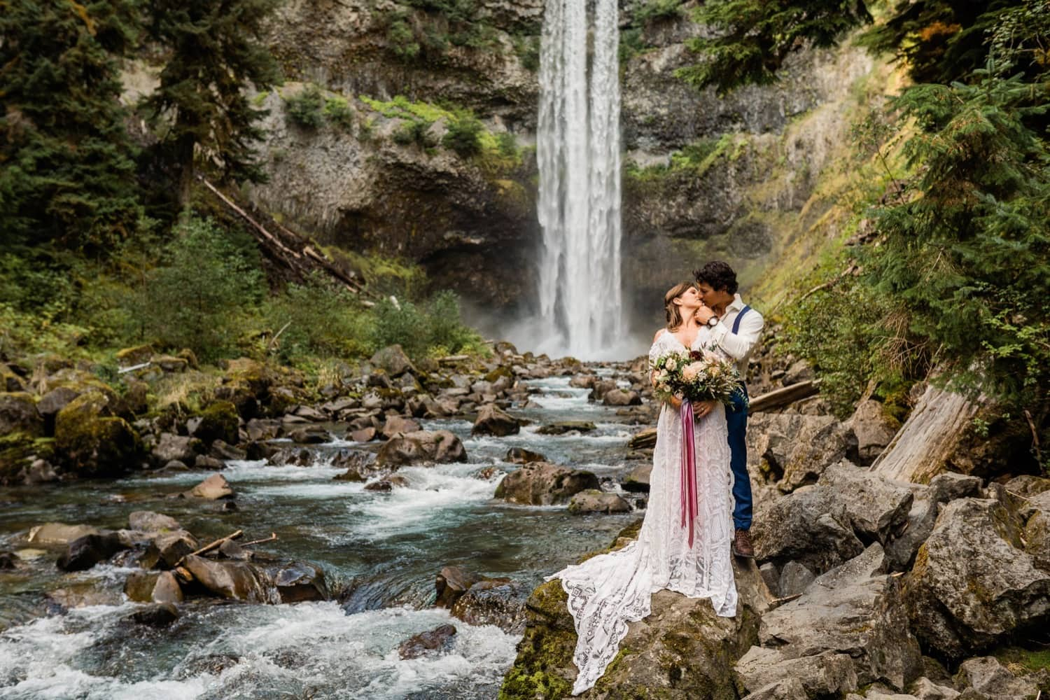 Bride and Groom elope at the base of a waterfall in Whistler, British Columbia
