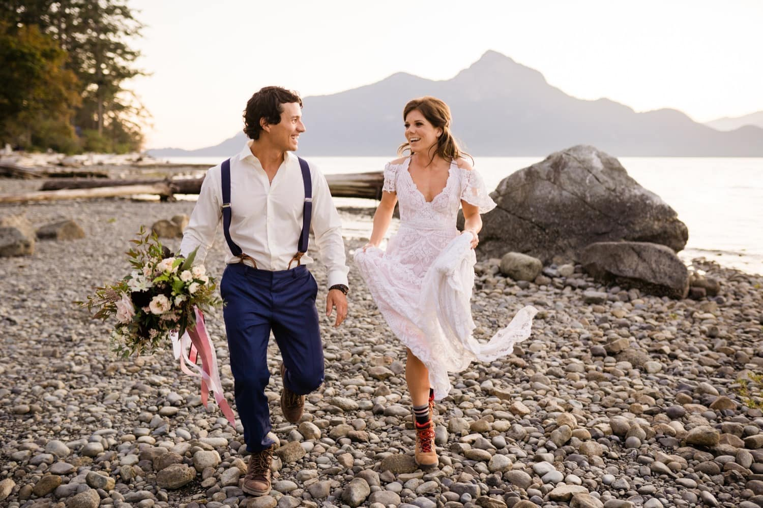 Elopement on the coast of British Columbia at sunset