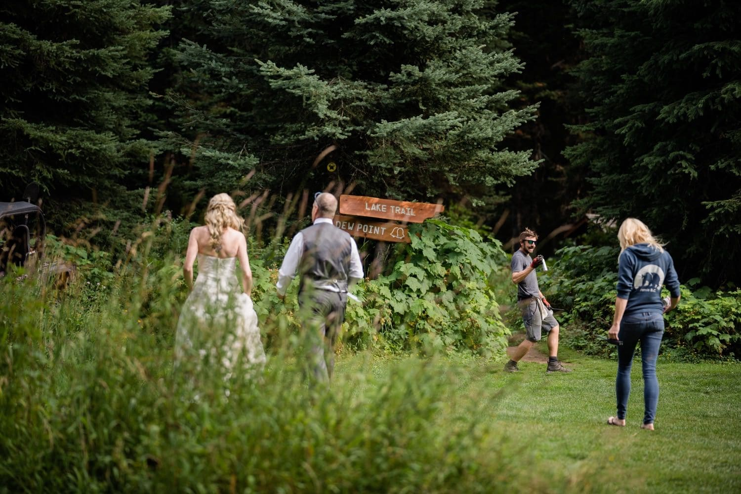 Mountain Elopement photographer Tara Hill Studios captures a bride and groom after getting married at Island Lake Lodge in Fernie, BC